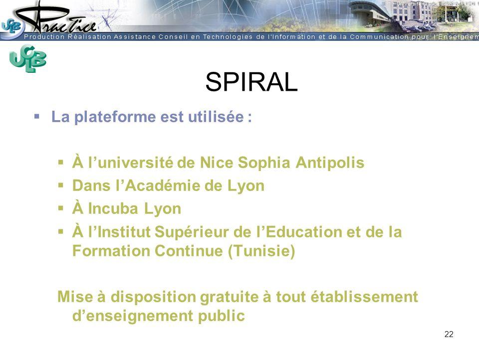 AMUE - Martine HEYDE 30 mars 2004Rénover les pratiques pédagogiques…. SPIRAL La plateforme est utilisée : À luniversité de Nice Sophia Antipolis Dans