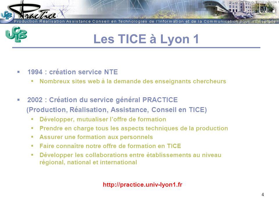 AMUE - Martine HEYDE 30 mars 2004Rénover les pratiques pédagogiques…. Les TICE à Lyon 1 1994 : création service NTE Nombreux sites web à la demande de