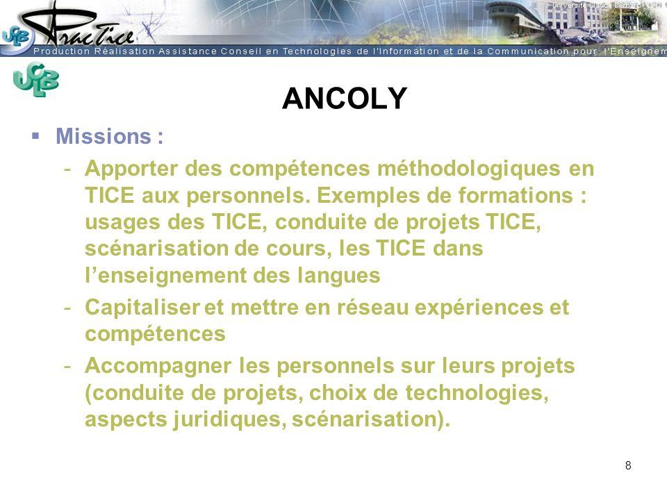 AMUE - Martine HEYDE 30 mars 2004Rénover les pratiques pédagogiques…. ANCOLY Missions : -Apporter des compétences méthodologiques en TICE aux personne