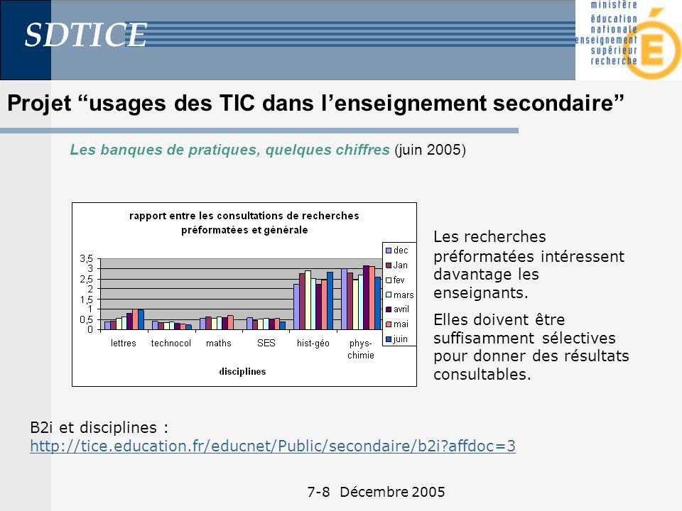 SDTICE 7-8 Décembre 2005 Projet usages des TIC dans lenseignement secondaire Les banques de pratiques, quelques chiffres (juin 2005) Les recherches préformatées intéressent davantage les enseignants.