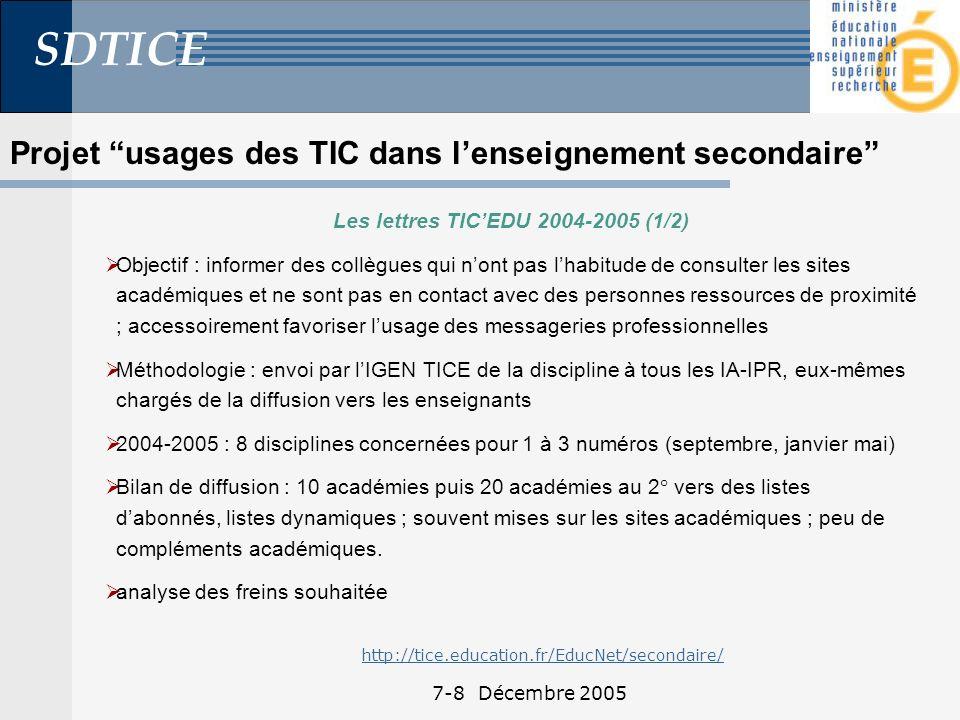 SDTICE 7-8 Décembre 2005 Les lettres TICEDU 2004-2005 (1/2) Objectif : informer des collègues qui nont pas lhabitude de consulter les sites académiques et ne sont pas en contact avec des personnes ressources de proximité ; accessoirement favoriser lusage des messageries professionnelles Méthodologie : envoi par lIGEN TICE de la discipline à tous les IA-IPR, eux-mêmes chargés de la diffusion vers les enseignants 2004-2005 : 8 disciplines concernées pour 1 à 3 numéros (septembre, janvier mai) Bilan de diffusion : 10 académies puis 20 académies au 2° vers des listes dabonnés, listes dynamiques ; souvent mises sur les sites académiques ; peu de compléments académiques.