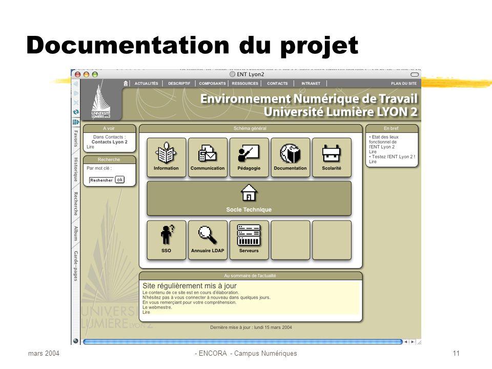 mars 2004- ENCORA - Campus Numériques11 Documentation du projet