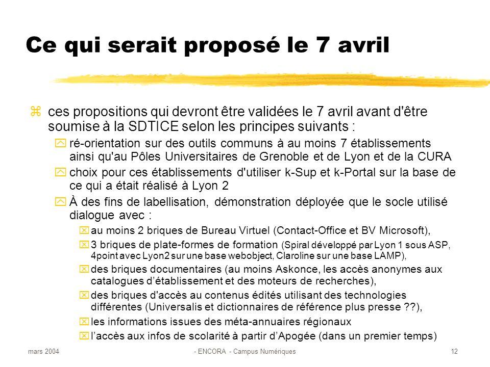 mars 2004- ENCORA - Campus Numériques12 Ce qui serait proposé le 7 avril ces propositions qui devront être validées le 7 avril avant d être soumise à la SDTICE selon les principes suivants : ré-orientation sur des outils communs à au moins 7 établissements ainsi qu au Pôles Universitaires de Grenoble et de Lyon et de la CURA choix pour ces établissements d utiliser k-Sup et k-Portal sur la base de ce qui a était réalisé à Lyon 2 À des fins de labellisation, démonstration déployée que le socle utilisé dialogue avec : au moins 2 briques de Bureau Virtuel (Contact-Office et BV Microsoft), 3 briques de plate-formes de formation (Spiral développé par Lyon 1 sous ASP, 4point avec Lyon2 sur une base webobject, Claroline sur une base LAMP), des briques documentaires (au moins Askonce, les accès anonymes aux catalogues détablissement et des moteurs de recherches), des briques d accès au contenus édités utilisant des technologies différentes (Universalis et dictionnaires de référence plus presse ??), les informations issues des méta-annuaires régionaux laccès aux infos de scolarité à partir dApogée (dans un premier temps)