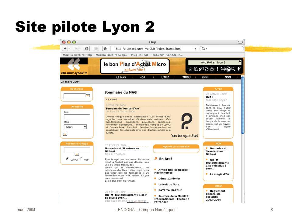 mars 2004- ENCORA - Campus Numériques8 Site pilote Lyon 2