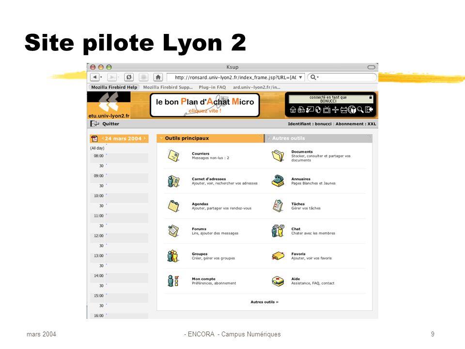 mars 2004- ENCORA - Campus Numériques9 Site pilote Lyon 2