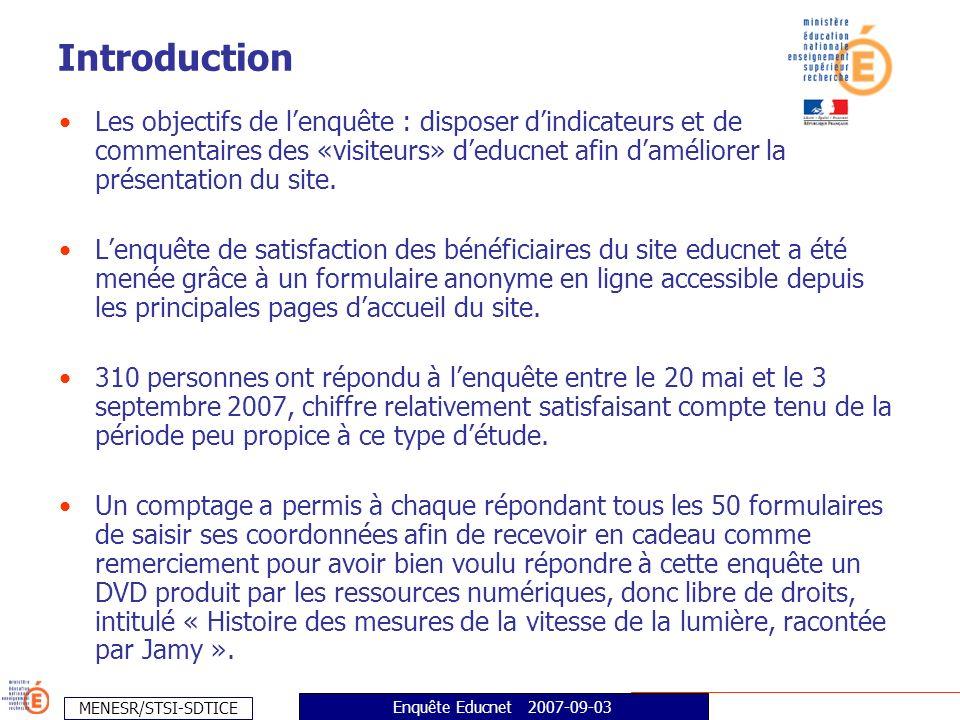 MENESR/STSI-SDTICE Enquête Educnet 2007-09-03 Les objectifs de lenquête : disposer dindicateurs et de commentaires des «visiteurs» deducnet afin daméliorer la présentation du site.