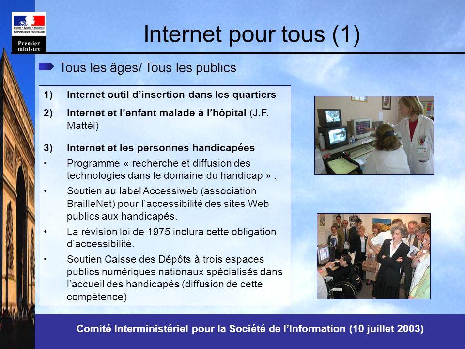 Comité Interministériel pour la Société de lInformation (10 juillet 2003) Internet pour tous (1) 1)Internet outil dinsertion dans les quartiers 2)Internet et lenfant malade à lhôpital (J.F.