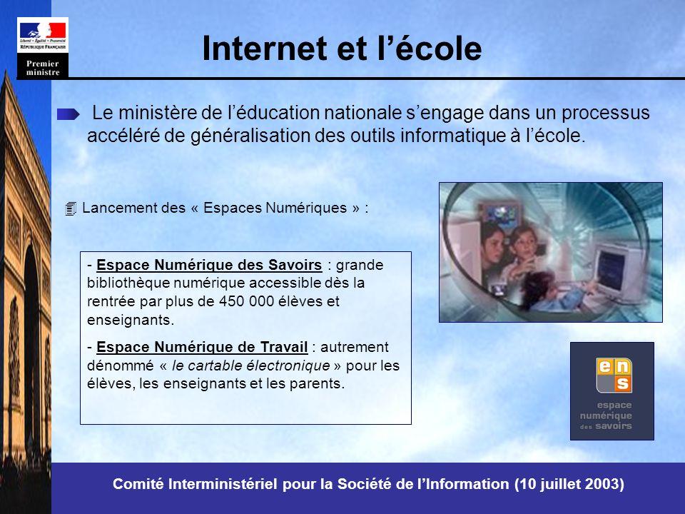 Internet et lécole Le ministère de léducation nationale sengage dans un processus accéléré de généralisation des outils informatique à lécole.