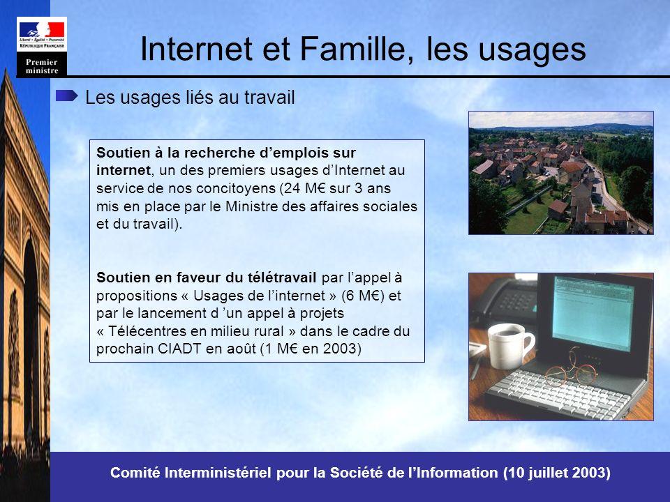Internet et Famille, les usages Soutien à la recherche demplois sur internet, un des premiers usages dInternet au service de nos concitoyens (24 M sur 3 ans mis en place par le Ministre des affaires sociales et du travail).