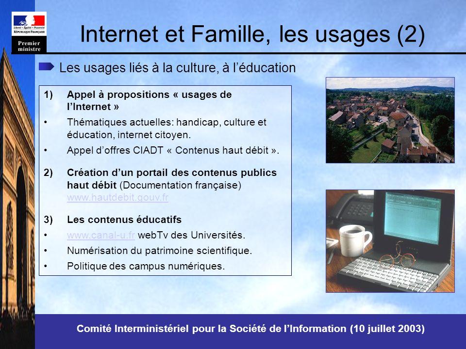 Comité Interministériel pour la Société de lInformation (10 juillet 2003) Internet et Famille, les usages (2) Les usages liés à la culture, à léducation 1)Appel à propositions « usages de lInternet » Thématiques actuelles: handicap, culture et éducation, internet citoyen.