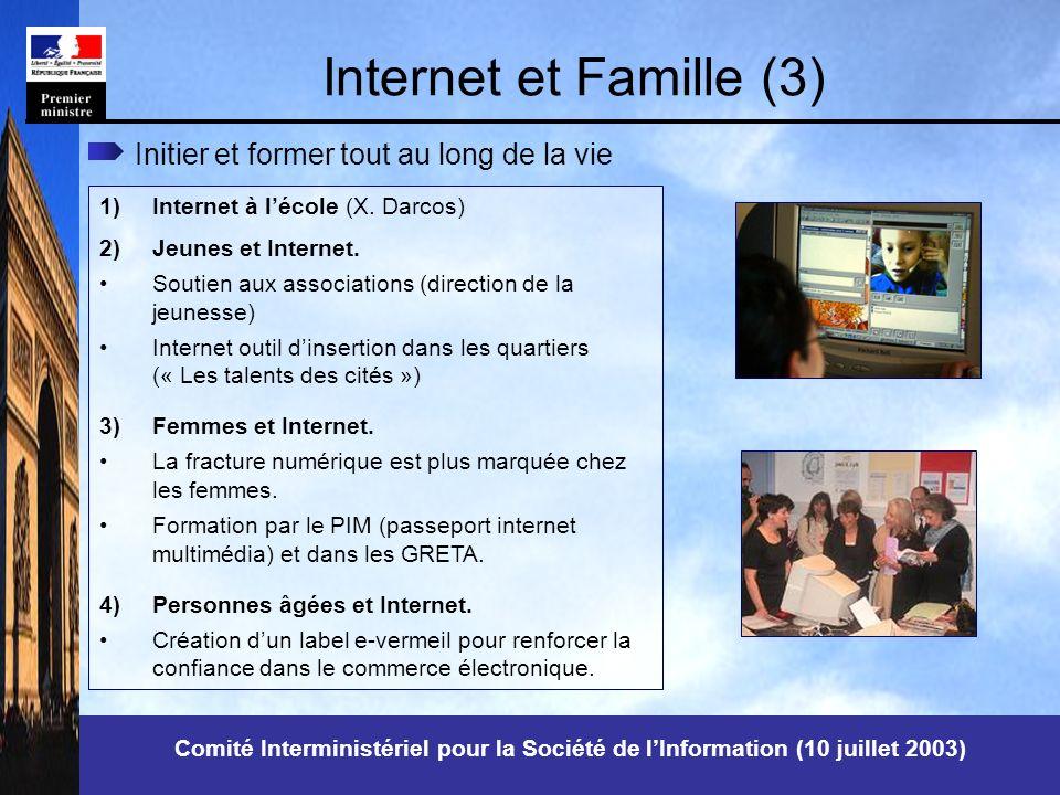 Comité Interministériel pour la Société de lInformation (10 juillet 2003) Internet et Famille (3) 1)Internet à lécole (X.