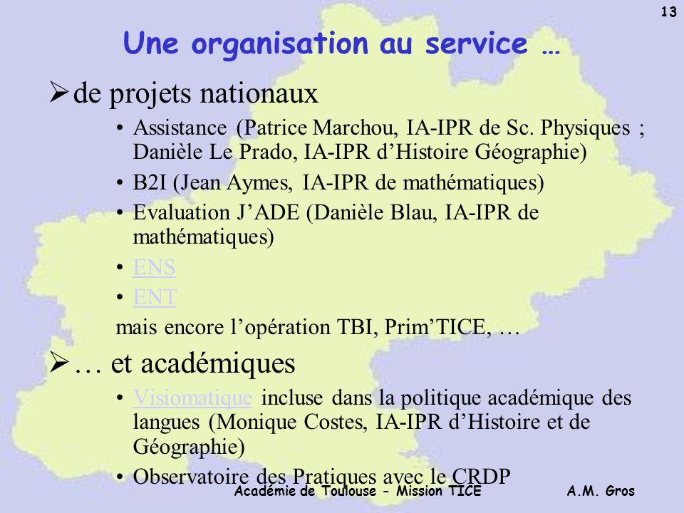 A.M. Gros Académie de Toulouse - Mission TICE 13 Une organisation au service … de projets nationaux Assistance (Patrice Marchou, IA-IPR de Sc. Physiqu