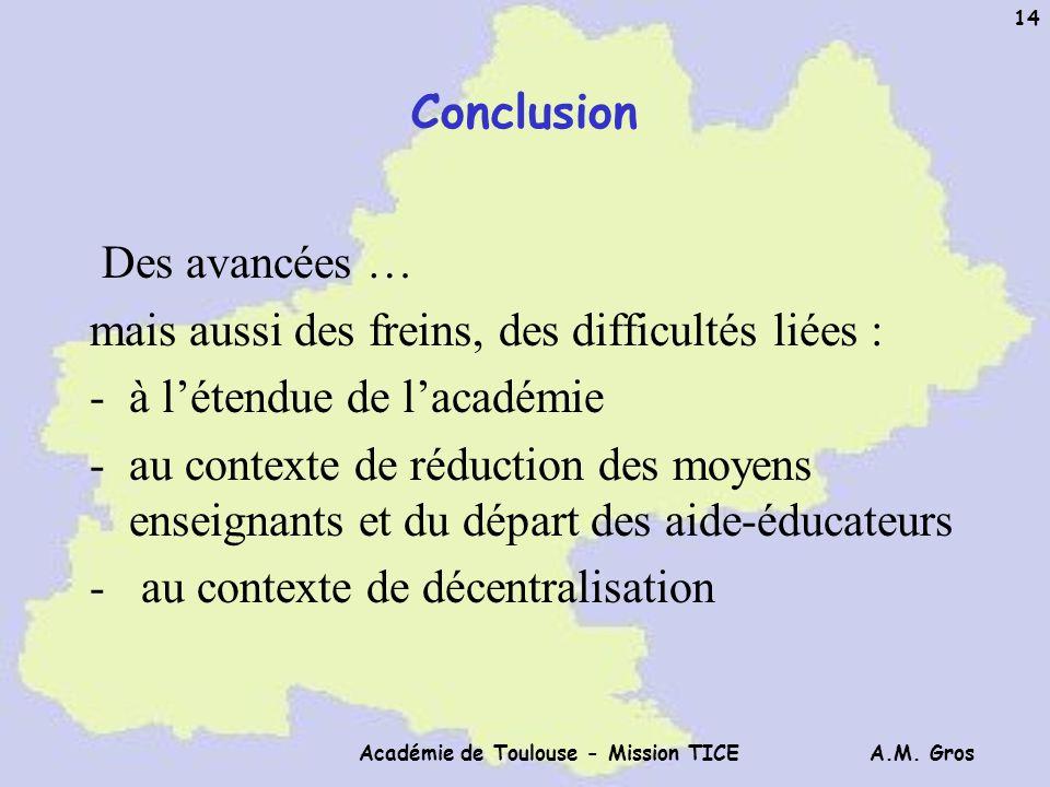 A.M. Gros Académie de Toulouse - Mission TICE 14 Conclusion Des avancées … mais aussi des freins, des difficultés liées : -à létendue de lacadémie -au