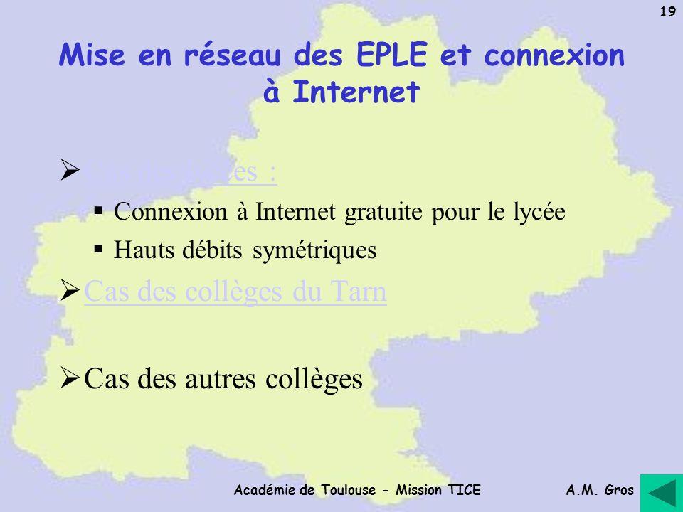 A.M. Gros Académie de Toulouse - Mission TICE 19 Mise en réseau des EPLE et connexion à Internet Cas des lycées : Connexion à Internet gratuite pour l