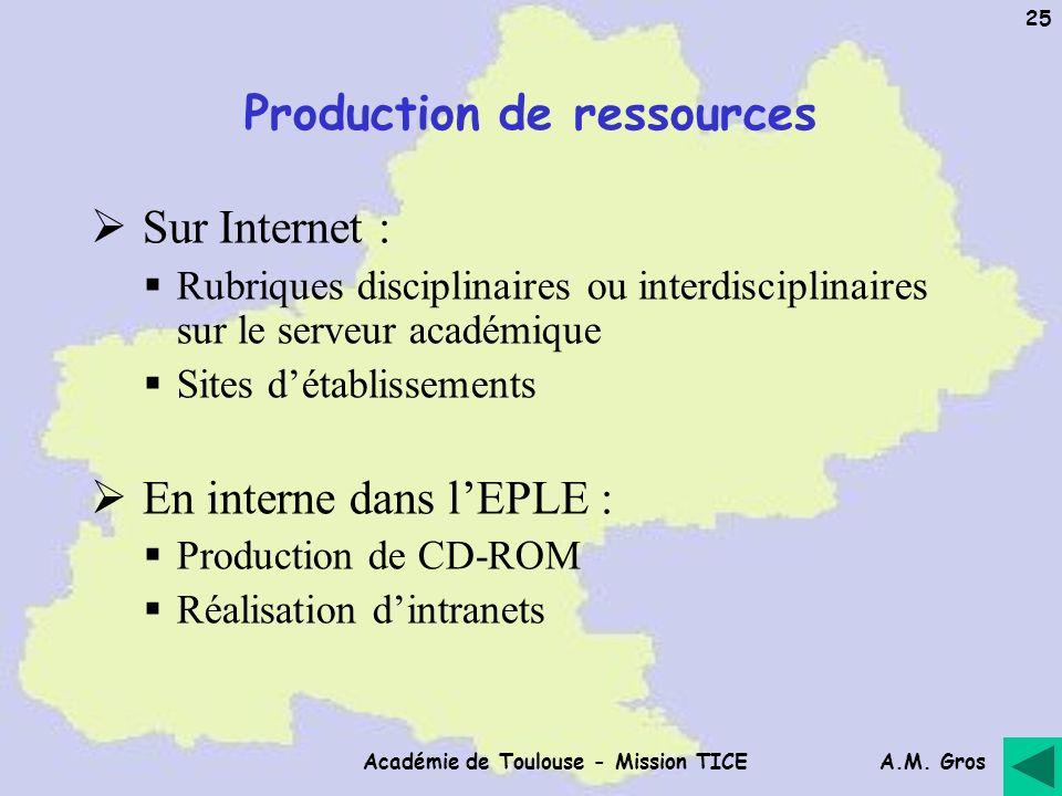 A.M. Gros Académie de Toulouse - Mission TICE 25 Production de ressources Sur Internet : Rubriques disciplinaires ou interdisciplinaires sur le serveu