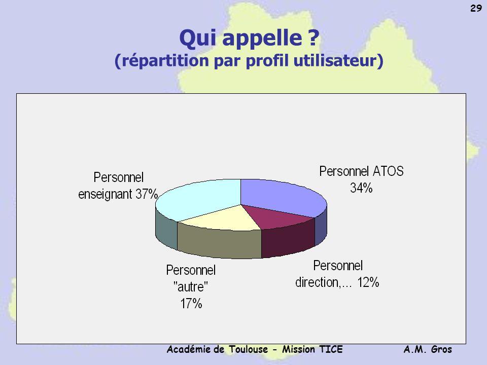 A.M. Gros Académie de Toulouse - Mission TICE 29 Qui appelle ? (répartition par profil utilisateur)