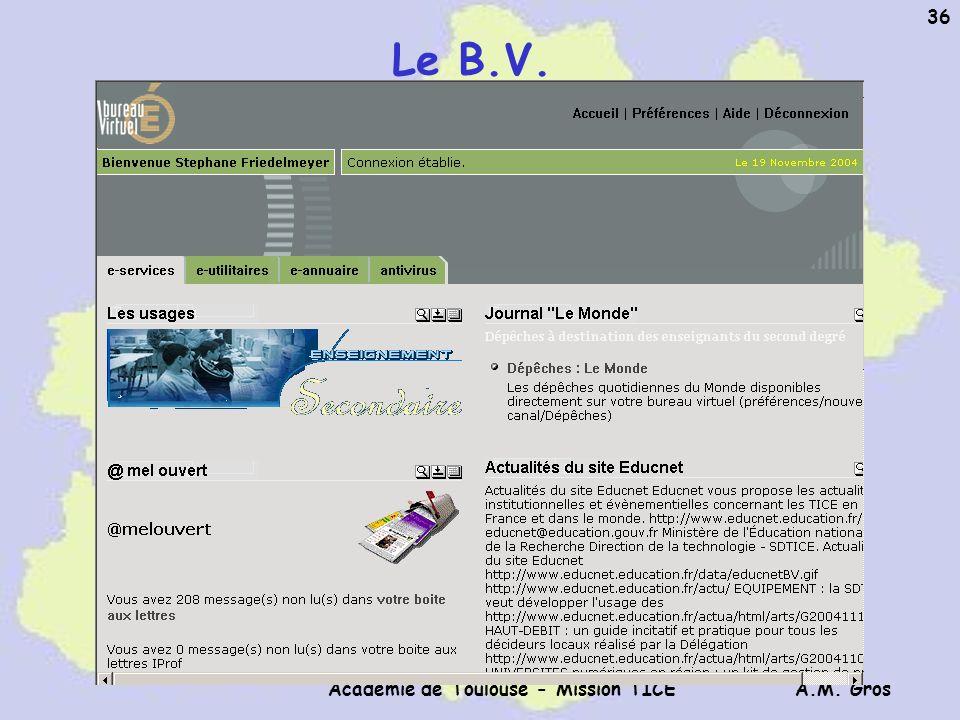 A.M. Gros Académie de Toulouse - Mission TICE 36 Le B.V.
