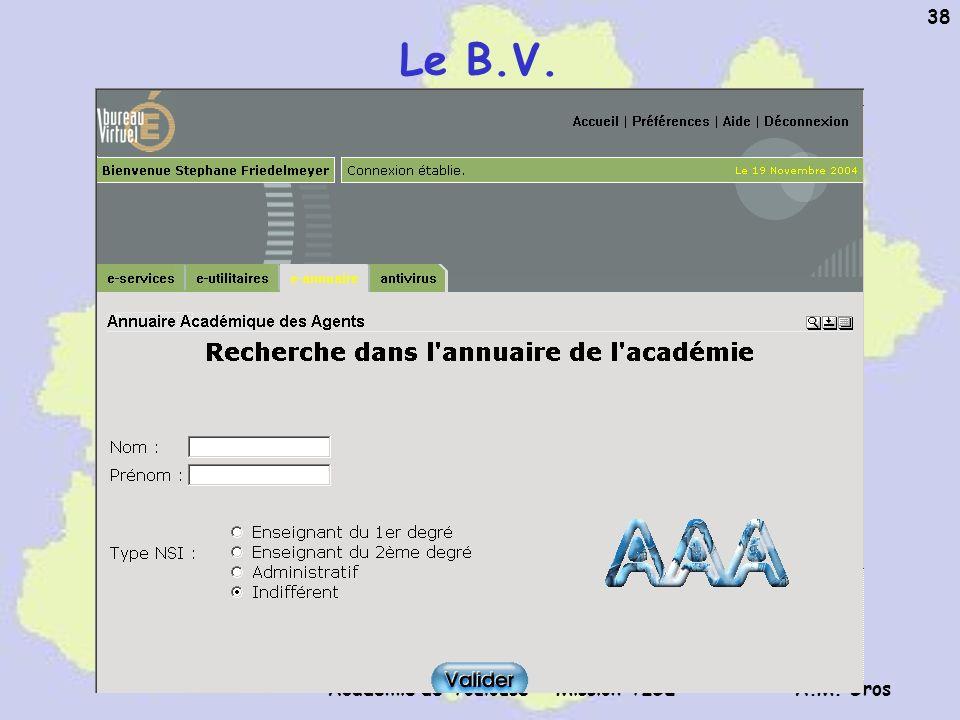 A.M. Gros Académie de Toulouse - Mission TICE 38 Le B.V.