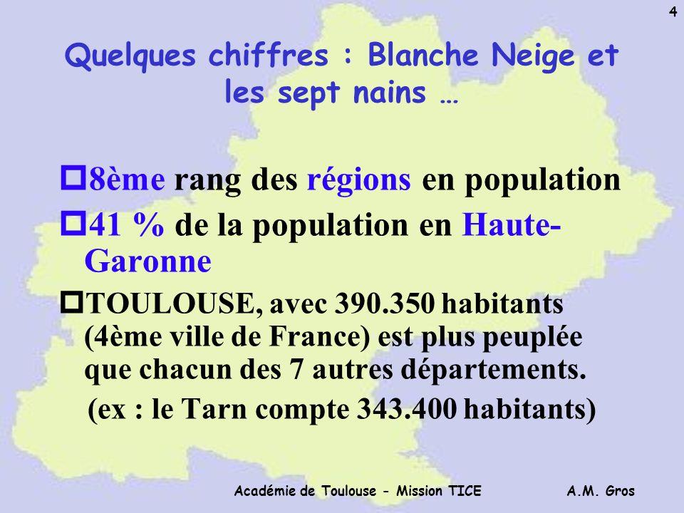 A.M. Gros Académie de Toulouse - Mission TICE 4 Quelques chiffres : Blanche Neige et les sept nains … p8ème rang des régions en population p41 % de la
