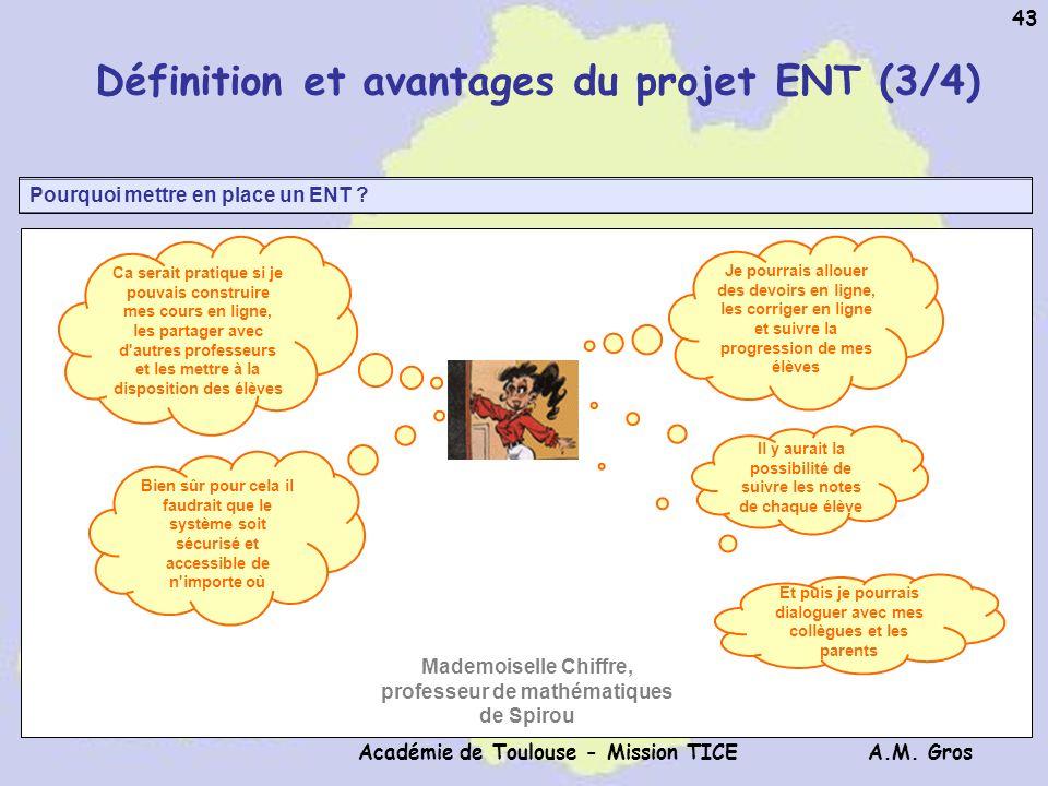 A.M. Gros Académie de Toulouse - Mission TICE 43 Pourquoi mettre en place un ENT ? Définition et avantages du projet ENT (3/4) Ca serait pratique si j