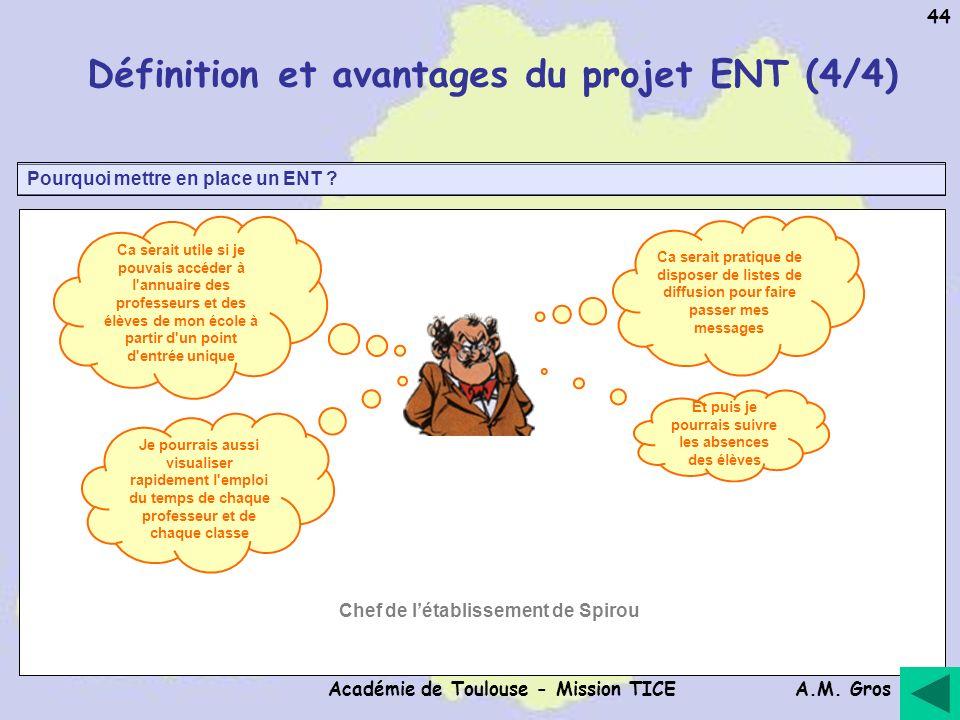 A.M. Gros Académie de Toulouse - Mission TICE 44 Pourquoi mettre en place un ENT ? Définition et avantages du projet ENT (4/4) Ca serait utile si je p