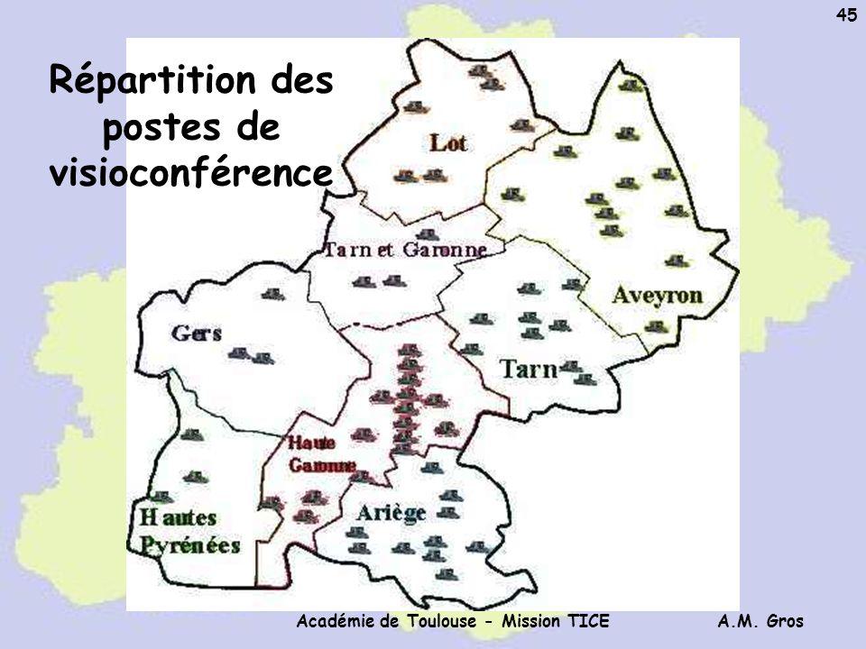 A.M. Gros Académie de Toulouse - Mission TICE 45 Répartition des postes de visioconférence