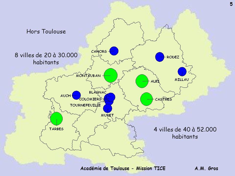 A.M. Gros Académie de Toulouse - Mission TICE 5 8 villes de 20 à 30.000 habitants 4 villes de 40 à 52.000 habitants Hors Toulouse