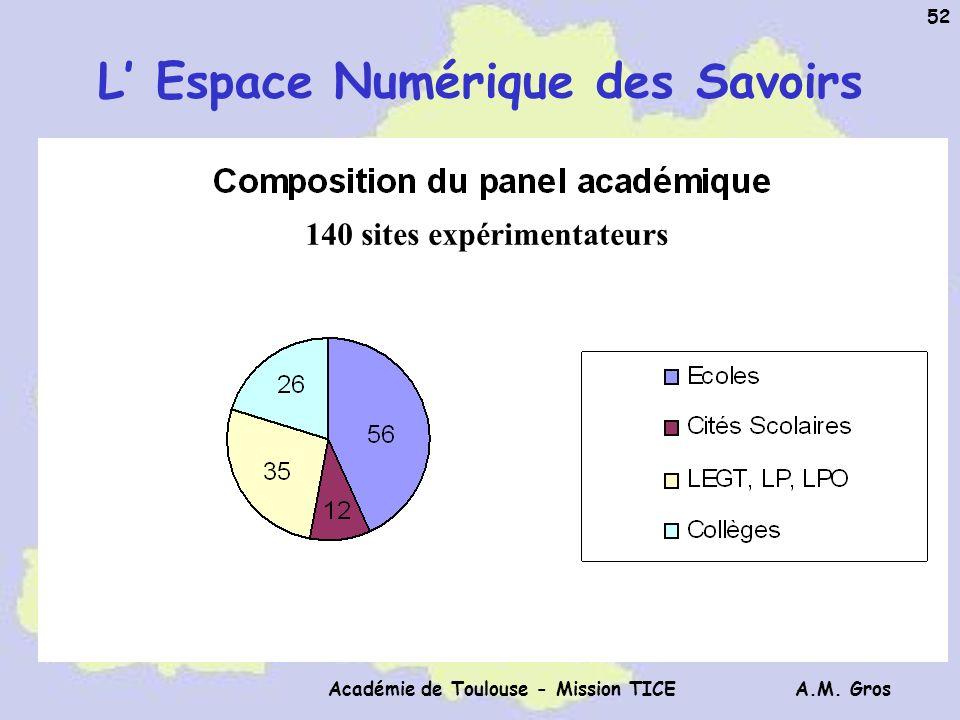 A.M. Gros Académie de Toulouse - Mission TICE 52 L Espace Numérique des Savoirs 140 sites expérimentateurs