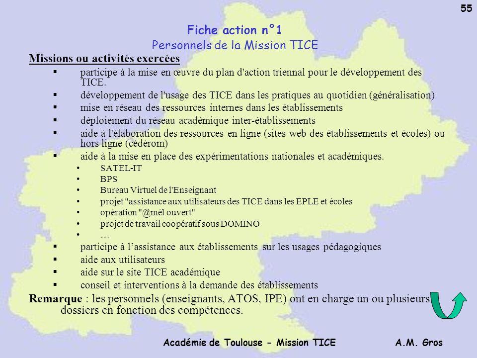 A.M. Gros Académie de Toulouse - Mission TICE 55 Fiche action n°1 Personnels de la Mission TICE Missions ou activités exercées participe à la mise en