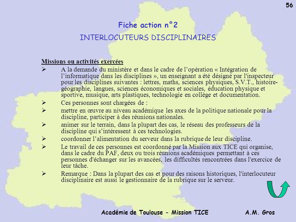 A.M. Gros Académie de Toulouse - Mission TICE 56 Fiche action n°2 INTERLOCUTEURS DISCIPLINAIRES Missions ou activités exercées A la demande du ministè