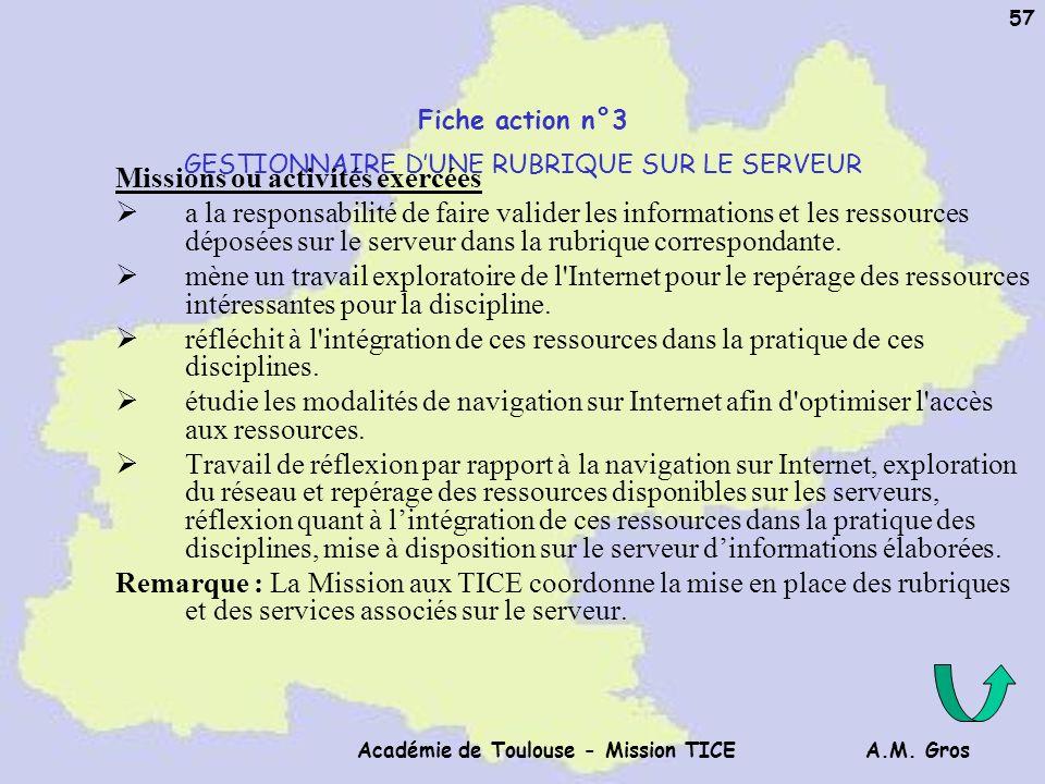 A.M. Gros Académie de Toulouse - Mission TICE 57 Fiche action n°3 GESTIONNAIRE DUNE RUBRIQUE SUR LE SERVEUR Missions ou activités exercées a la respon