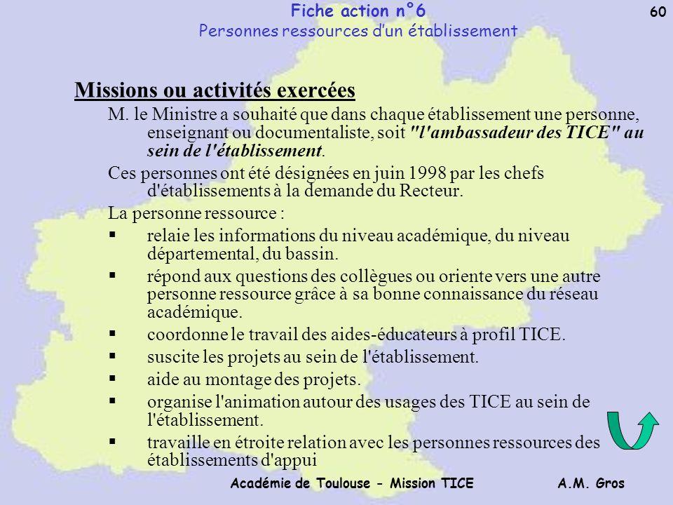 A.M. Gros Académie de Toulouse - Mission TICE 60 Fiche action n°6 Personnes ressources dun établissement Missions ou activités exercées M. le Ministre