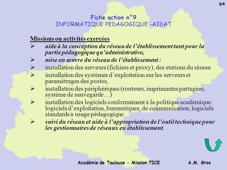 A.M. Gros Académie de Toulouse - Mission TICE 64 Fiche action n°9 INFORMATIQUE PEDAGOGIQUE -AIDAT Missions ou activités exercées aide à la conception