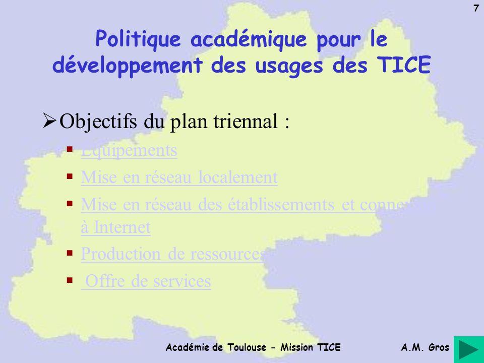 A.M. Gros Académie de Toulouse - Mission TICE 7 Politique académique pour le développement des usages des TICE Objectifs du plan triennal : Équipement