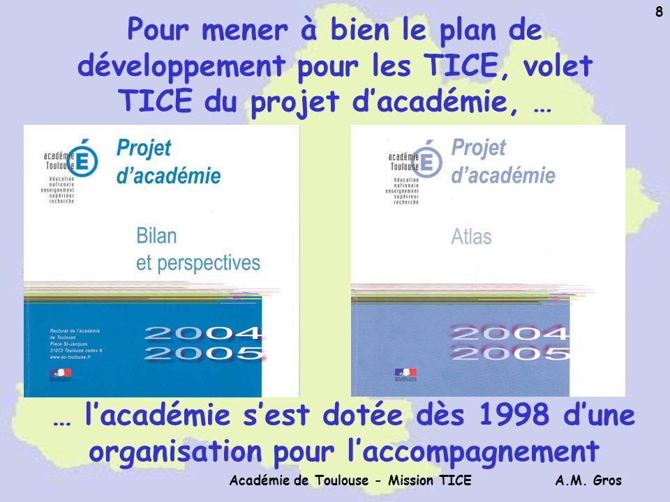A.M. Gros Académie de Toulouse - Mission TICE 8 Pour mener à bien le plan de développement pour les TICE, volet TICE du projet dacadémie, … … lacadémi