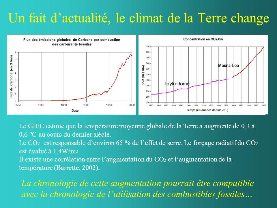 Un fait dactualité, le climat de la Terre change Le GIEC estime que la température moyenne globale de la Terre a augmenté de 0,3 à 0,6 °C au cours du