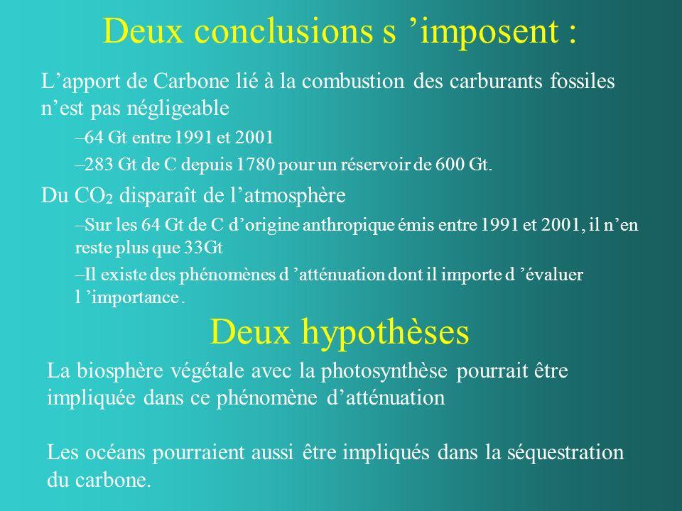 Deux conclusions s imposent : Lapport de Carbone lié à la combustion des carburants fossiles nest pas négligeable –64 Gt entre 1991 et 2001 –283 Gt de