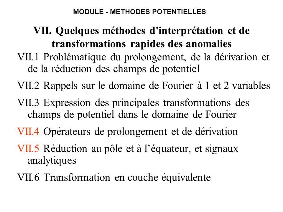 VII.4 Expressions de lopérateur de prolongement vers le haut Expressions via domaine de Fourier (passant dun plan à laltitude a vers un plan à laltitude a+h) : Interprétation 2D (données sur un profil, TF à 1D) Interprétation 3D (données sur une carte, TF à 2D) avec Idem : le prolongement de la carte f a pour obtenir la carte f a+h sobtient par un produit de convolution NB : le prolongement du profil f a pour obtenir le profil f a+h sobtient par un produit de convolution
