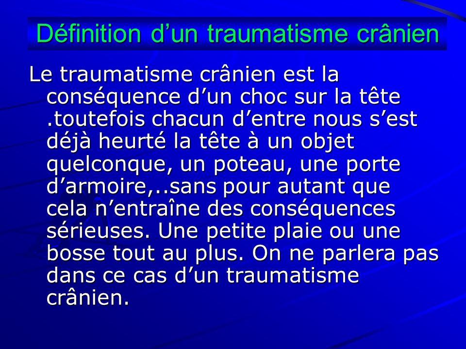 Définition dun traumatisme crânien Le traumatisme crânien est la conséquence dun choc sur la tête.toutefois chacun dentre nous sest déjà heurté la têt