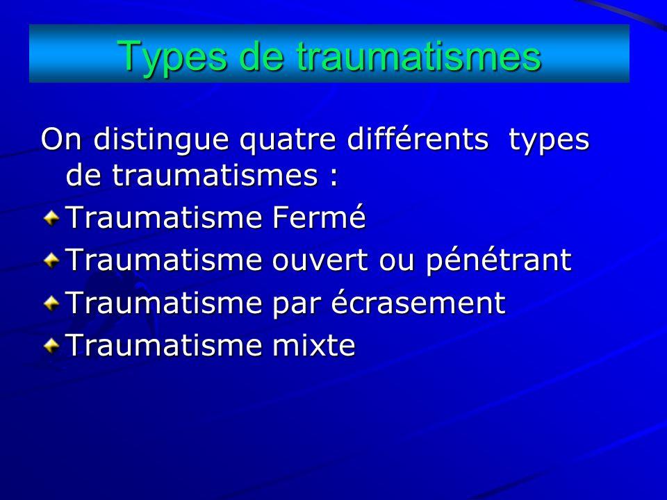 Types de traumatismes On distingue quatre différents types de traumatismes : Traumatisme Fermé Traumatisme ouvert ou pénétrant Traumatisme par écrasem