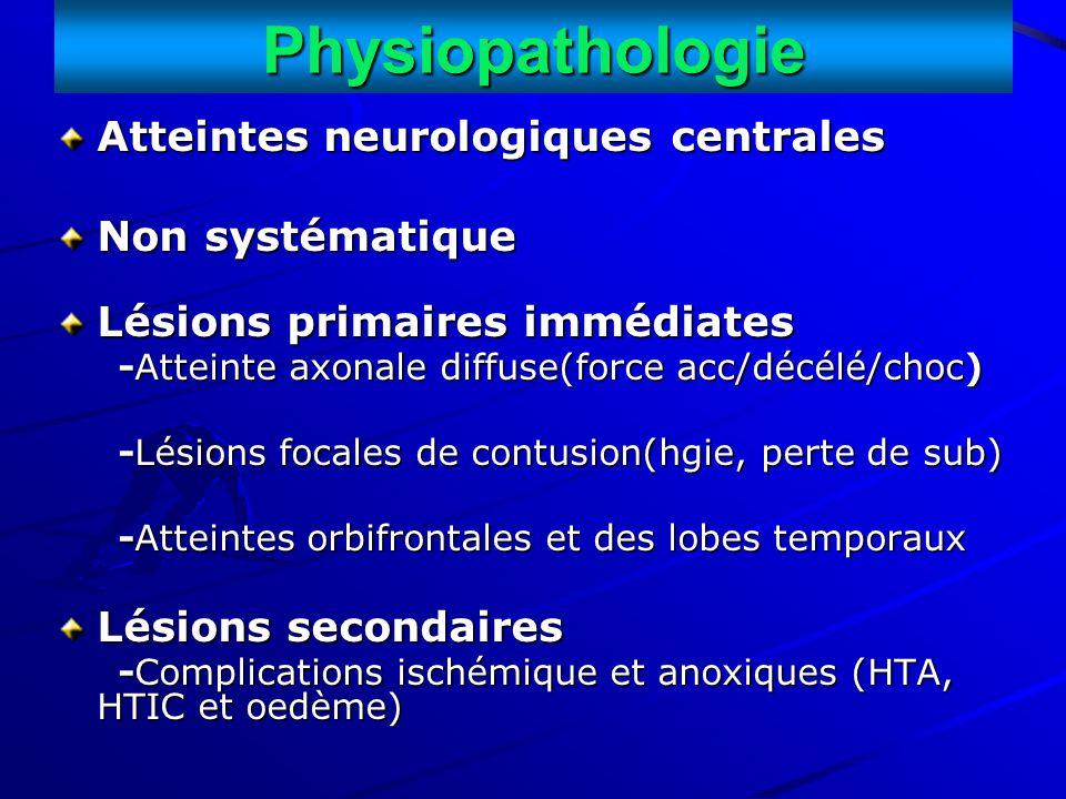 Physiopathologie Atteintes neurologiques centrales Non systématique Lésions primaires immédiates -Atteinte axonale diffuse(force acc/décélé/choc) -Att