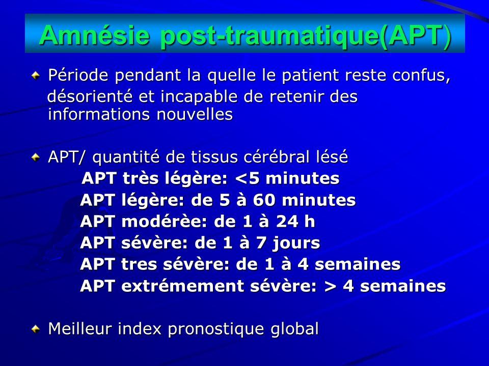 Amnésie post-traumatique(APT) Période pendant la quelle le patient reste confus, désorienté et incapable de retenir des informations nouvelles désorie