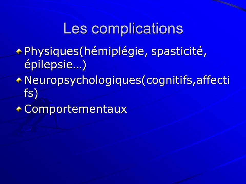 Les complications Physiques(hémiplégie, spasticité, épilepsie…) Neuropsychologiques(cognitifs,affecti fs) Comportementaux