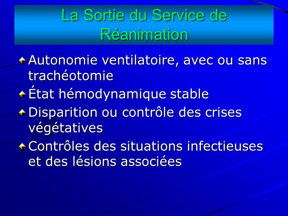 La Sortie du Service de Réanimation Autonomie ventilatoire, avec ou sans trachéotomie État hémodynamique stable Disparition ou contrôle des crises vég