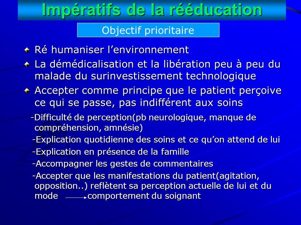 Impératifs de la rééducation Ré humaniser lenvironnement La démédicalisation et la libération peu à peu du malade du surinvestissement technologique A