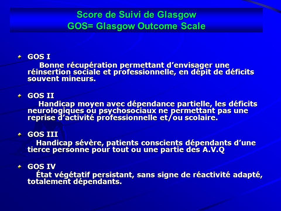 Score de Suivi de Glasgow GOS= Glasgow Outcome Scale GOS I Bonne récupération permettant denvisager une réinsertion sociale et professionnelle, en dép