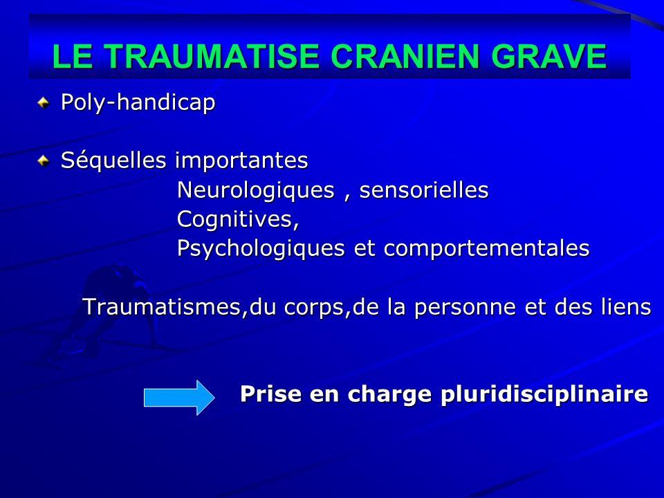 LE TRAUMATISE CRANIEN GRAVE Poly-handicap Séquelles importantes Neurologiques, sensorielles Neurologiques, sensorielles Cognitives, Cognitives, Psycho