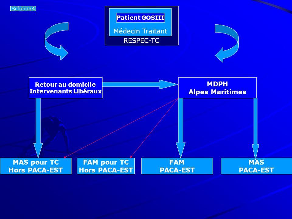 Patient GOS3 Retour au domicile Intervenants Libéraux MDPH Alpes Maritimes MAS pour TC Hors PACA-EST FAM PACA-EST MAS PACA-EST Schéma4 Médecin Traitan