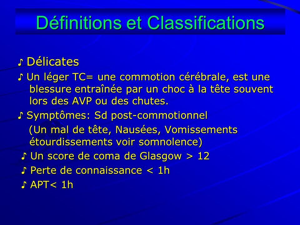 Définitions et Classifications Délicates Délicates Un léger TC= une commotion cérébrale, est une blessure entraînée par un choc à la tête souvent lors
