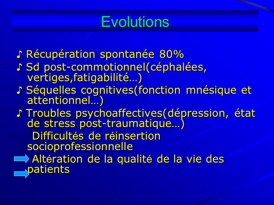 Evolutions Récupération spontanée 80% Récupération spontanée 80% Sd post-commotionnel(céphalées, vertiges,fatigabilité…) Sd post-commotionnel(céphalée